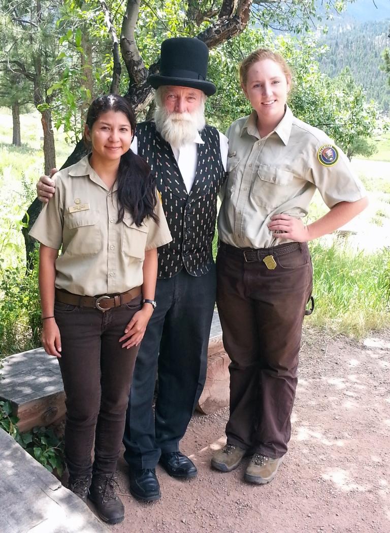 Olmsted with volunteers Aeriel and Karina